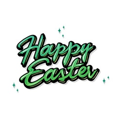 Easter greetings hand lettering badge on star vector