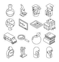 Education and school isometric 3d line icons vector image