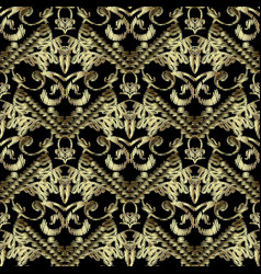 embroidery striped 3d baroque seamless pattern vector image