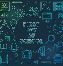 first day school colored outline concept vector image