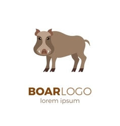 Flat boar logo vector