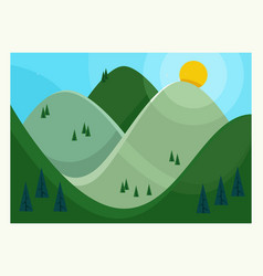 flat summer mountains vector image