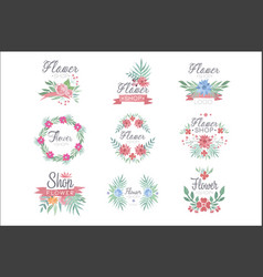 flower shop logo design set of colorful watercolor vector image