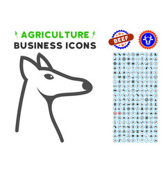 Fox head icon with agriculture set vector
