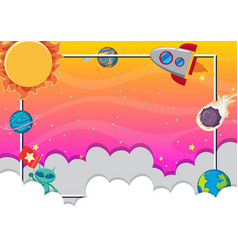 Frame design with many planets in background vector