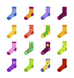 Funny colorful socks flat set vector