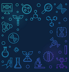 Genetics outline blue square vector
