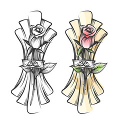 hand drawn rose and napkin vector image