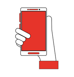 hand holding smartphone with blank screen icon vector image