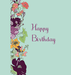 Happy birthday floral greeting card vector