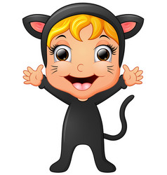 Happy little girl wearing cat costume waving hand vector