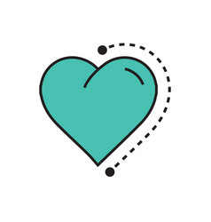 Heart icon dots style green vector