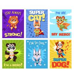 Hero animals cards children brave zoo superheroes vector