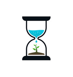 hourglass with sprout and water drop vector image