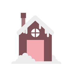 house with chimney and snow design vector image