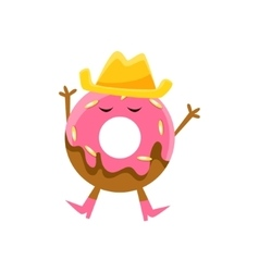 Humanized Doughnut With Pink Glazing And Cowboy vector
