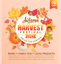 Invitation to autumn harvest festival vector