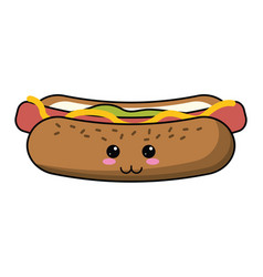 Kawaii hot dog fast food vector