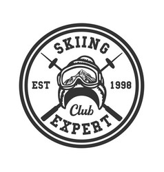 Logo design skiing club expert est 1998 vintage vector
