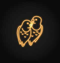 lovebird parrots icon in glowing neon style vector image