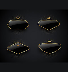 luxury black glass labels with golden crown vector image