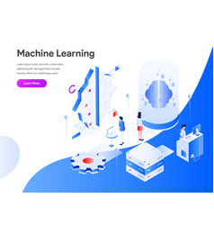 Machine learning isometric concept modern flat vector