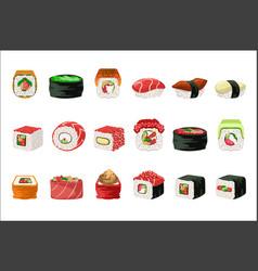 Maki and sushi set vector
