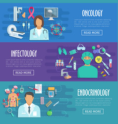 Medical banner set of doctor with healthcare icons vector