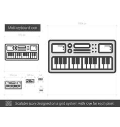 Midi keyboard line icon vector