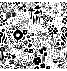 Monochrome flower field pastel black on white vector