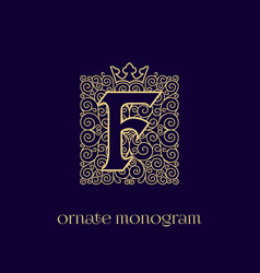 Monogram with crown f vector
