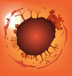 orange halloween party circle gradient greeting vector image
