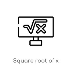 outline square root x icon isolated black vector image