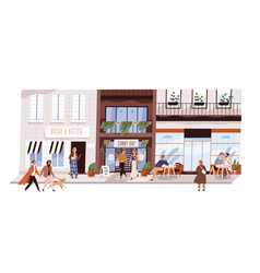 people outdoor at small urban street flat vector image