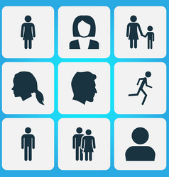 Person icons set collection of user beloveds vector