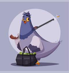 Pigeon a robber thug life vector
