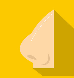 Plastic surgery of nose icon flat style vector