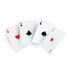 Playing poker cards realistic fan aces square vector