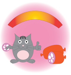 Pleased funny cat with sausage vector