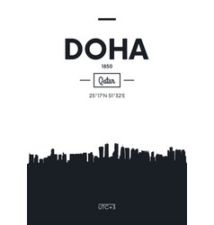 poster city skyline doha flat style vector image