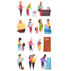 queue people characters set vector image