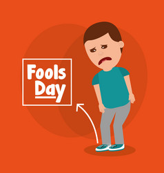 Sad man for joke of tied sholaces fools day vector