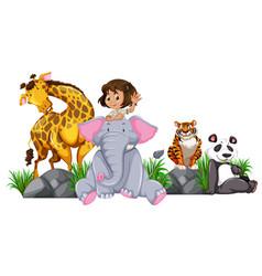 safari girl with wild animals vector image
