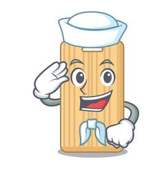 Sailor wooden cutting board character cartoon vector