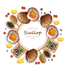 scallops and caviar card realistic seafood vector image