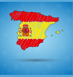 Scribble map spain sketch country map for vector