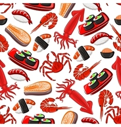 Seafood seamless pattern background vector image