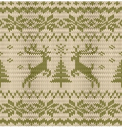 Seamless Knitted Pattern with Deers vector
