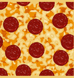Seamless pattern with texture pepperoni pizza vector