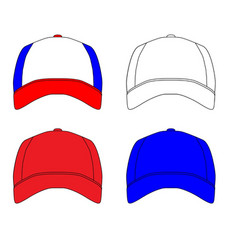 Set of 4 baseball caps vector